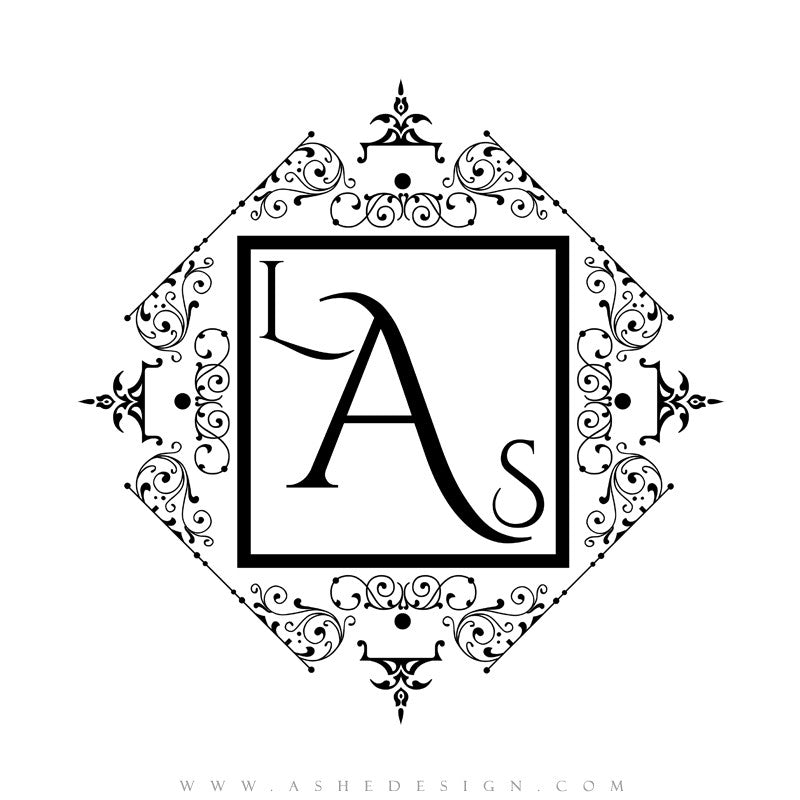 Ashe Design |  Monogram Template | Filigree1