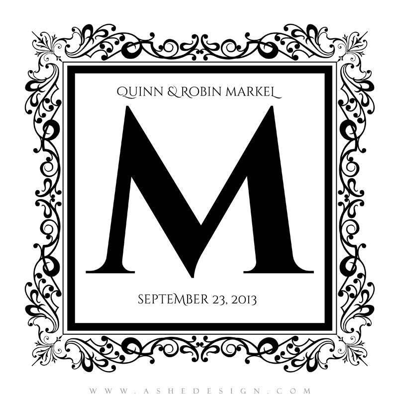 Ashe Design |  Monogram Template | Framed1