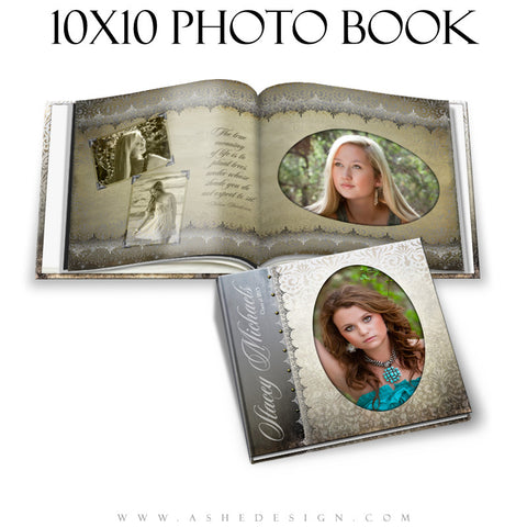 Senior Girl Photo Book Templates (10x10) - Antique Damask