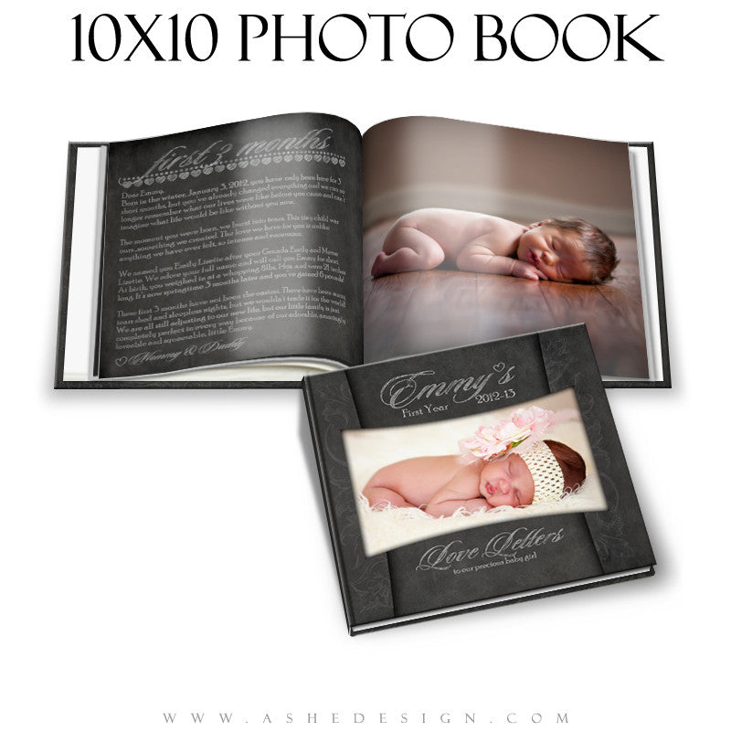 Ashe Design | Photo Book 10x10 Template | Chalkboard - Baby's First Year Journal cover