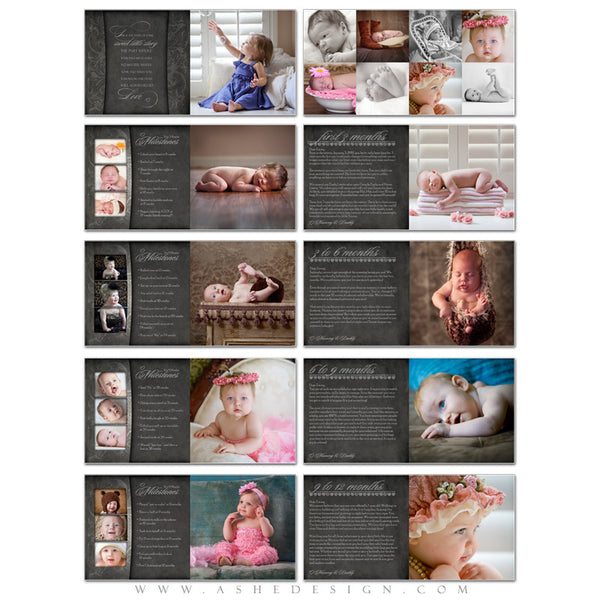 Ashe Design | Photo Book 10x10 Template | Chalkboard - Baby's First Year Journal pgs