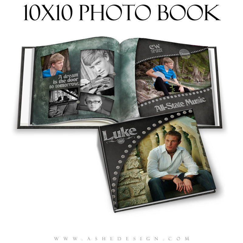 Photo Book Template (10x10) - Chalkboard Senior Boy