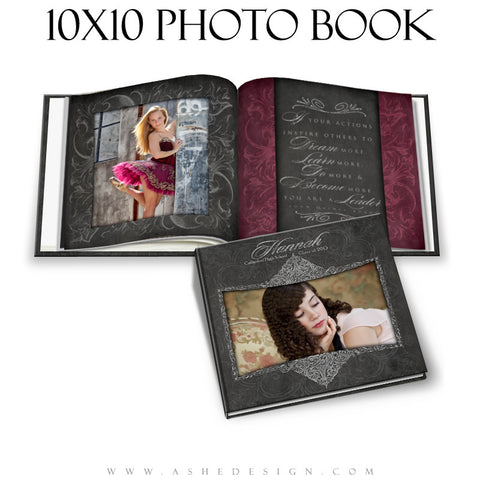 Photo Book Template (10x10) - Chalkboard Senior Girl