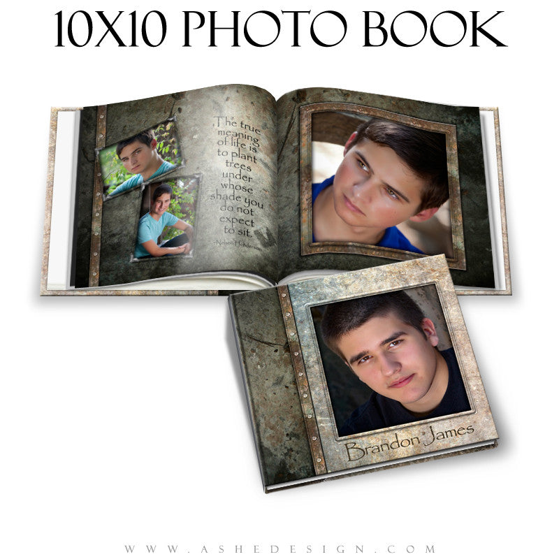 Ashe Design | Senior Boy Photo Book 10x10 Template | Granite cover