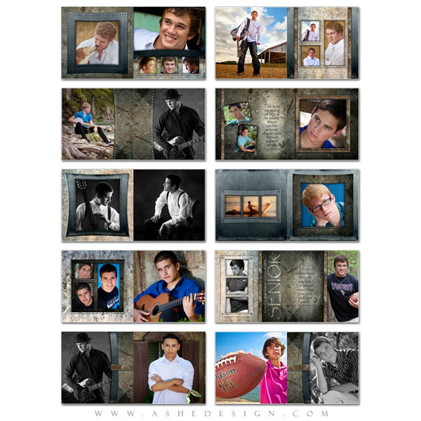 Ashe Design | Senior Boy Photo Book 10x10 Template | Granite pages