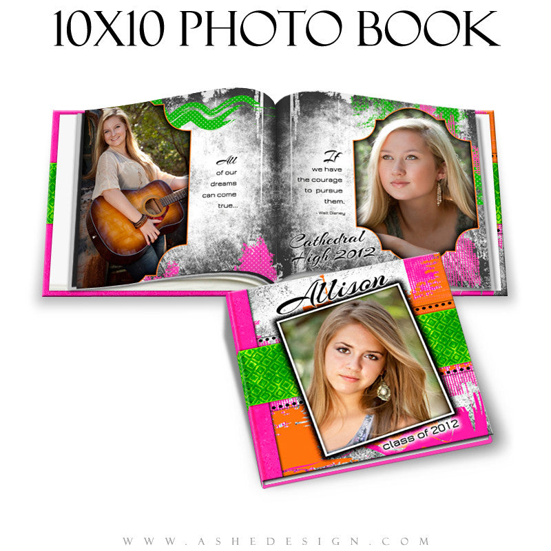 Senior Girl Photo Book Template (10x10) - Neon