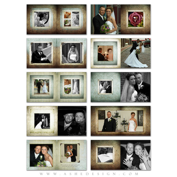 Ashe Design | Photo Book 10x10 Template | Something Old pages