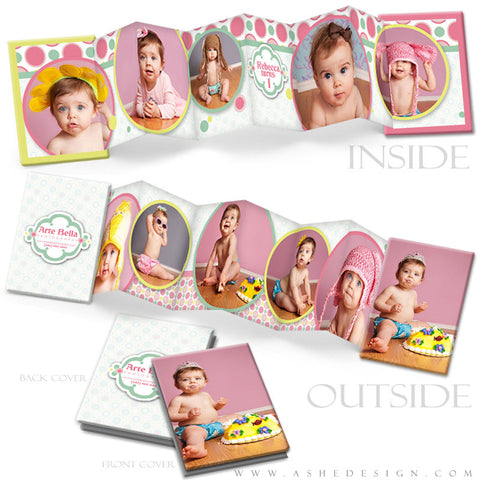 Photo Book Design Template (2.5x3.5 Wallet Accordion) - Bubble Gum