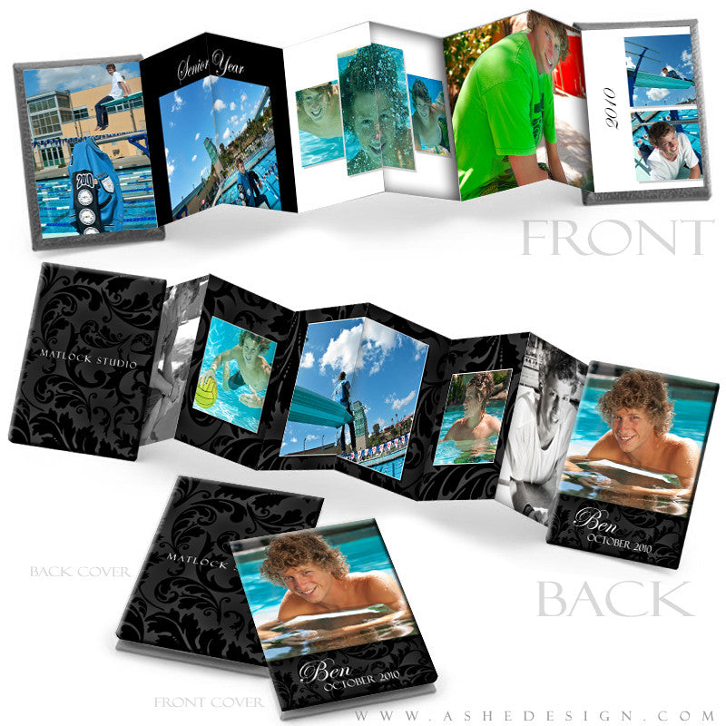 Photo Book Design Template (2.5x3.5 Wallet Accordion) - Classic Black & White