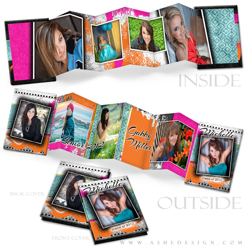 Senior Girl Photo Book Template (2.5x3.5 Wallet Accordion) - Neon