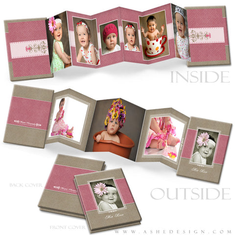 Photo Book Design Template (2.5x3.5 Wallet Accordion) - Raspberry Cream