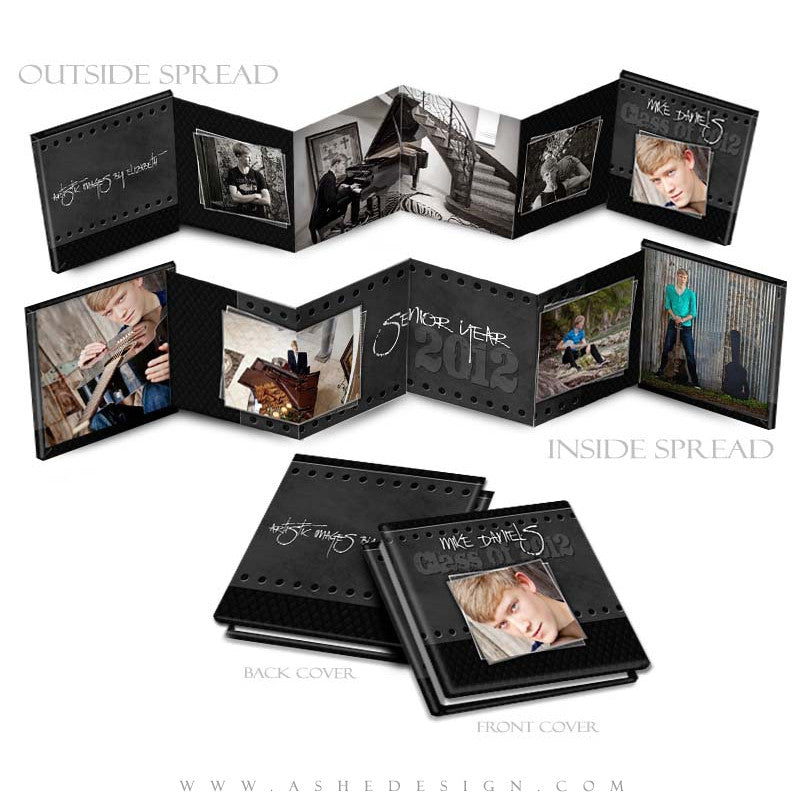 Photo Book Design Template (3x3 Accordion Mini) - Black Leather