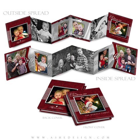 Photo Book Design Template (3x3 Accordion Mini) - Christmas Bling