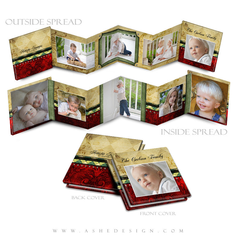 Photo Book Design Template (3x3 Accordion Mini) - Christmas Couture