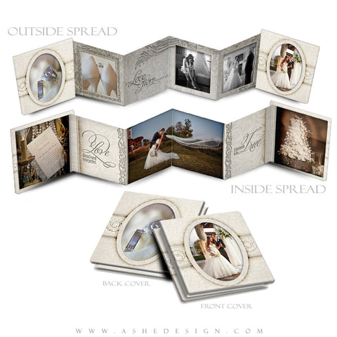 Ashe Design | Photoshop Template | 3x3 Accordion Mini Photo Book | I Do