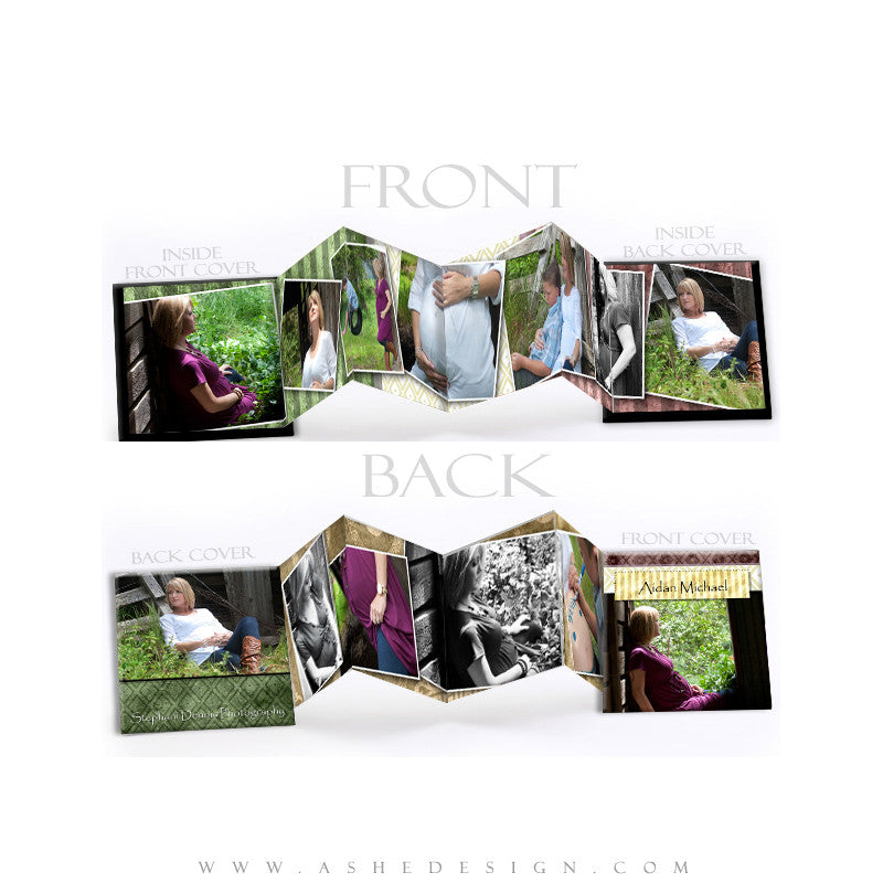 Photo Book Template (3x3 Accordion Mini) - Pear Berry