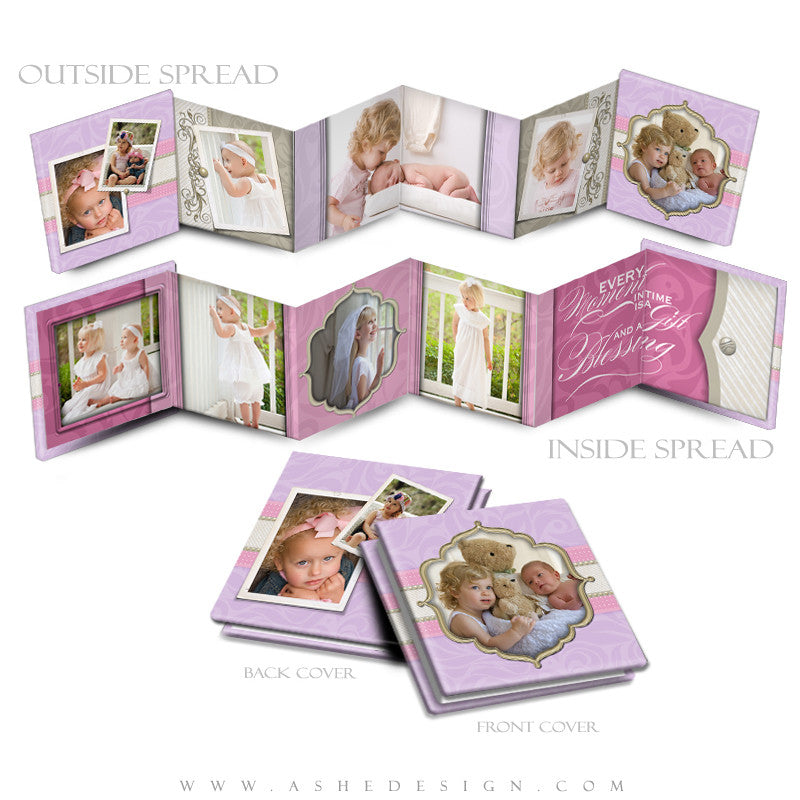 Photo Book Template (3x3 Accordion Mini) - Pretty Pastel