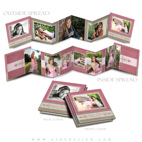 Photo Book Design Template (3x3 Accordion Mini) - Raspberry Cream