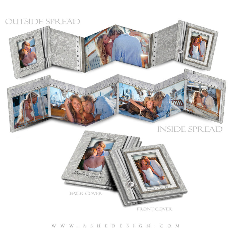 Photo Book Design Template (3x3 Accordion Mini) - White Wedding
