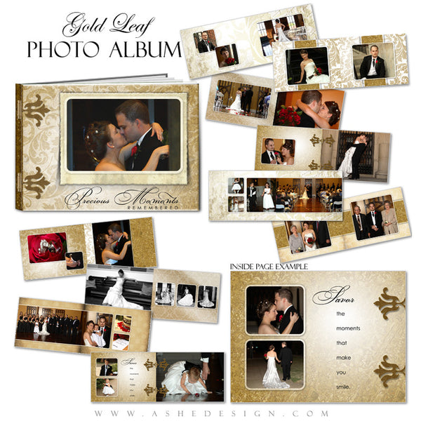 Wedding Photo Book Template (5x7) - Gold Leaf
