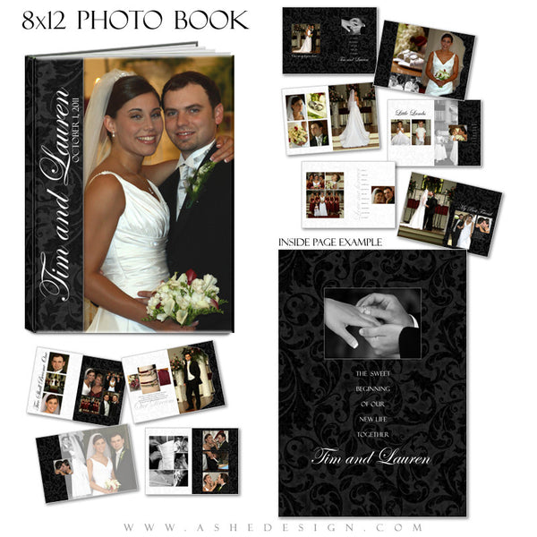 Photo Book Design Template (8x12) - Classic Black & White