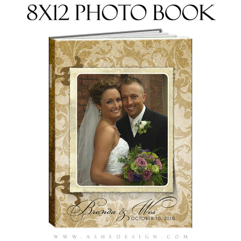 Wedding Photo Book Template (8x12) - Gold Leaf