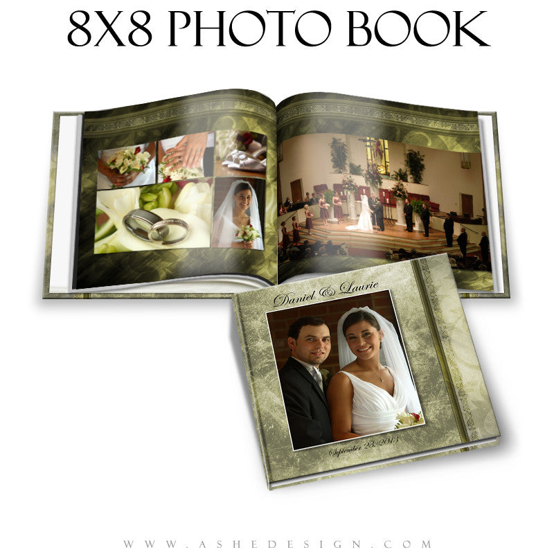 Photo Book Templates 8x8 | Elegant Brushed Grunge open book