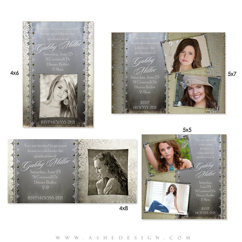 Photo Card Design Set - Antique Damask