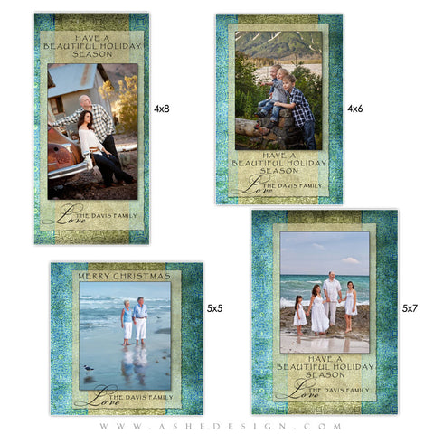 Christmas Photo Card Set - Blue Latte Damask