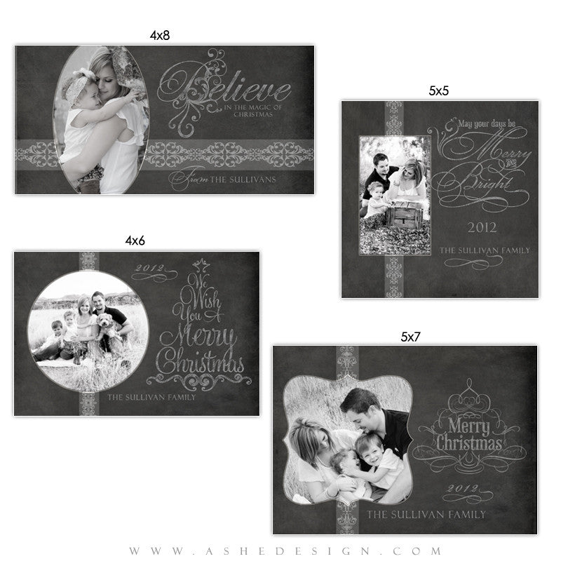 Photo Card Design Set - Chalkboard (Holiday)