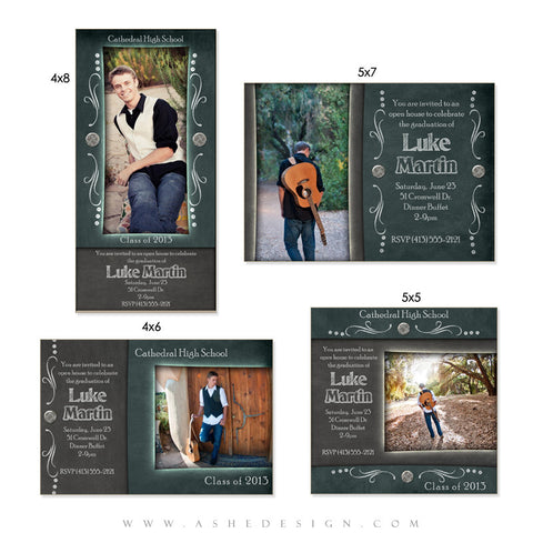 Senior Boy Photo Card Set - Chalkboard Senior Boy