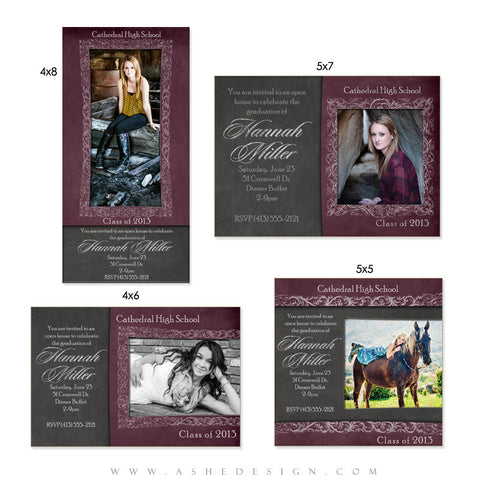 Senior Girl Photo Card Graduation Invitations - Chalkboard Senior Girl