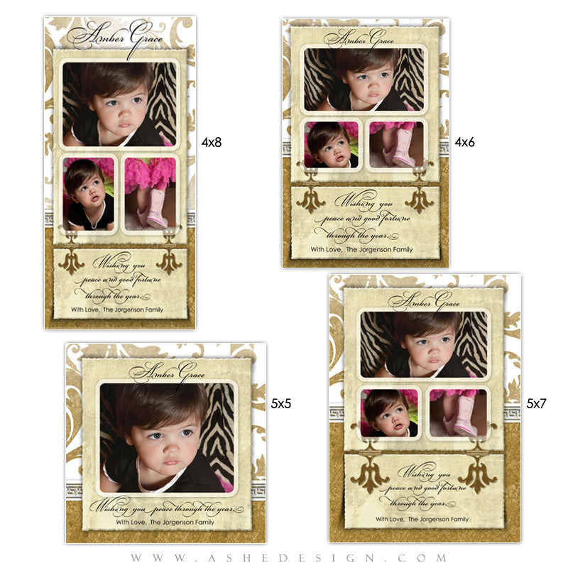 Christmas Photo Card Set - Gold Leaf