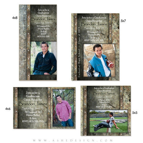 Senior Boy Photo Card Set - Granite