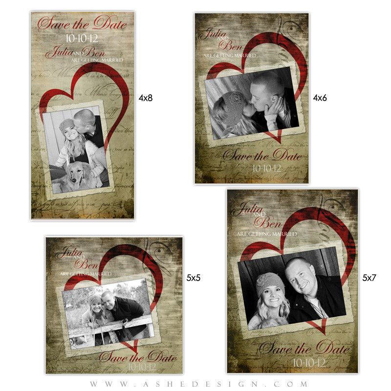 Photo Card Save The Date Set - Love Letters