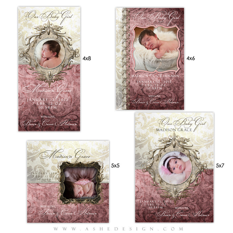 Baby Girl Photo Card Set - Madison Grace