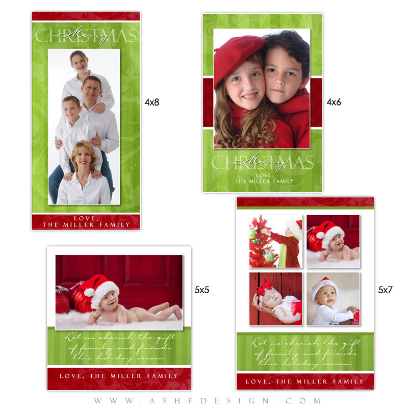 Christmas Photo Card Set - Merry & Bright