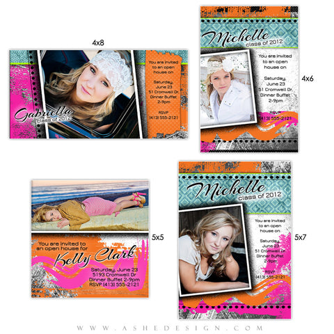 Photo Card Design Set - Neon