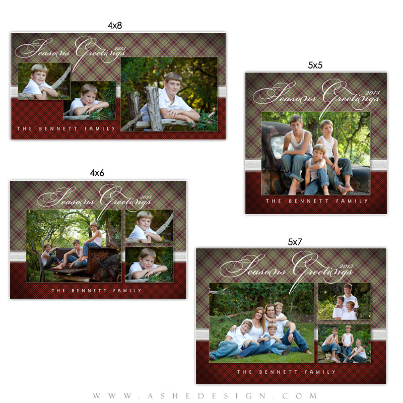 Christmas Photo Card Set - Perfectly Plaid
