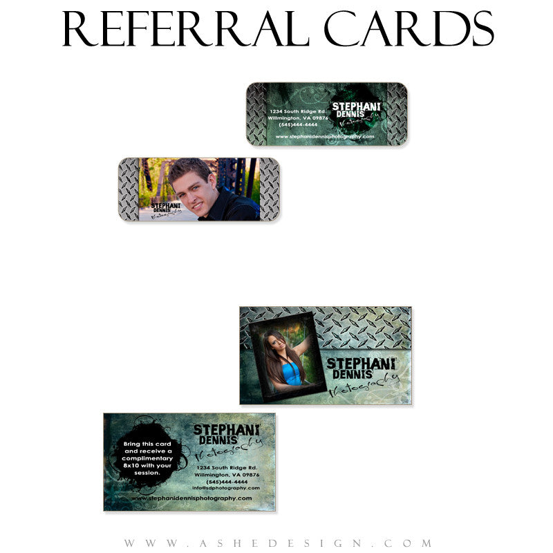 Referral Card Designs - Blue Latte Grunge