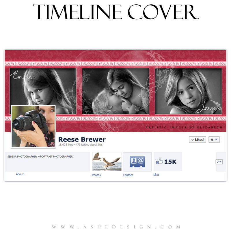 Timeline Cover Design - Hearts & Swirls
