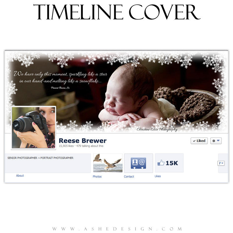 Timeline Cover Design - Snowflake Border