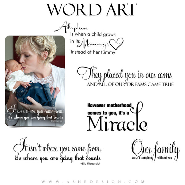 Ashe Design | Adoption Word Art Overlays