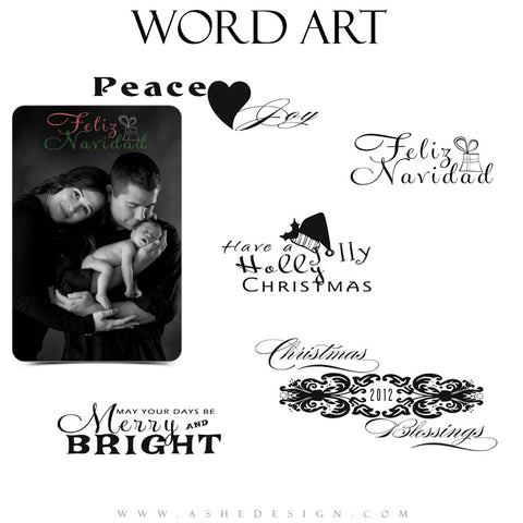 Christmas Word Art Set | Chalkboard full set