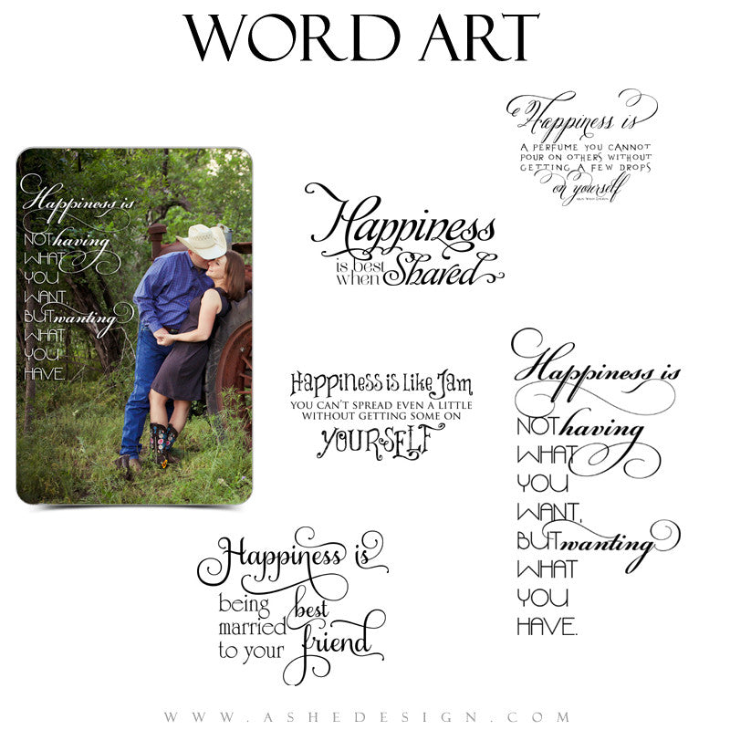 Inspirational Word Art Quotes - Happiness Is