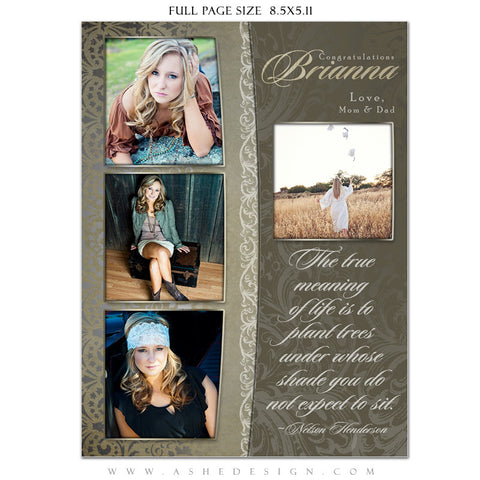 Antique Damask Yearbook Templates for Photographers