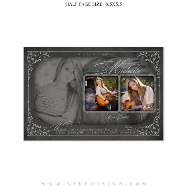 Chalkboard Senior Girl Yearbook Templates for Photographers