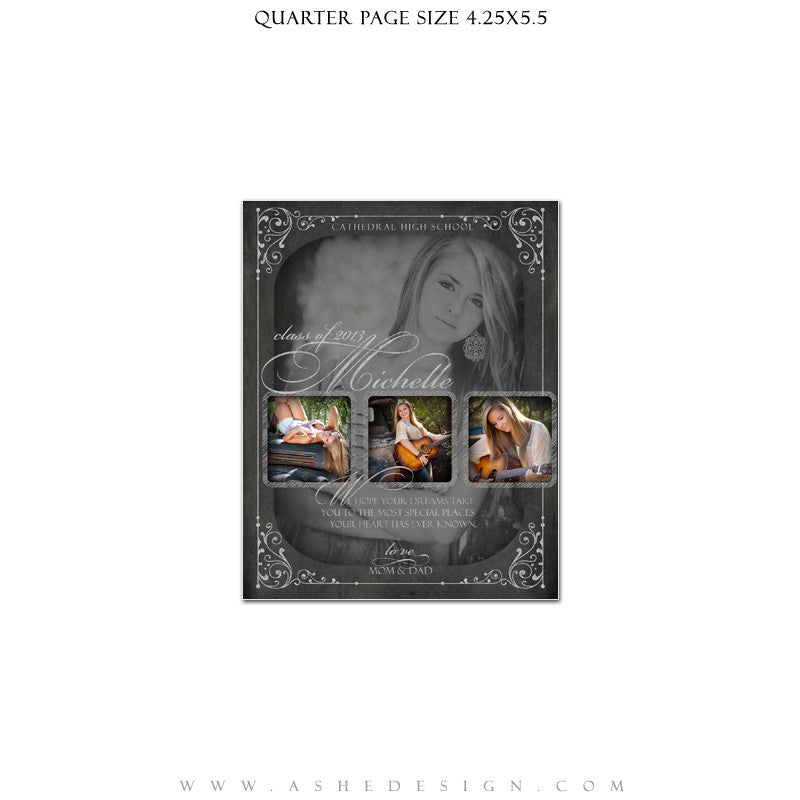 Chalkboard Senior Girl Yearbook Templates for Photographers – AsheDesign