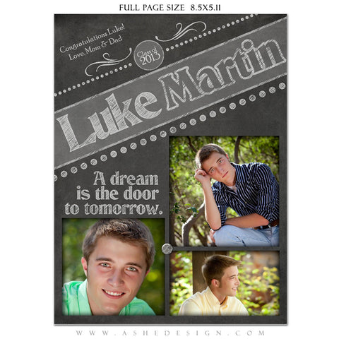 Chalkboard Senior Boy Yearbook Templates for Photographers