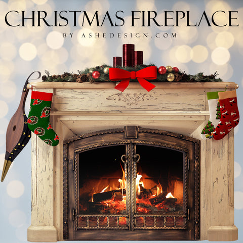 Ashe Design Designer Gems - Christmas Fireplace with Stockings